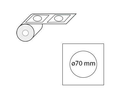 Étiquettes rondes ø70 mm jet d'encre et laser en rouleau