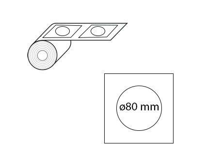 Étiquettes rondes ø80 mm jet d'encre et laser en rouleau