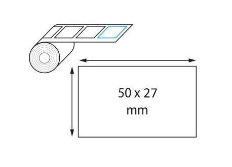 Étiquette 50 x 27 mm jaune opaque en rouleau