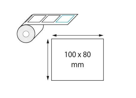 Étiquette en velin mat 100x80 mm jet d'encre et laser en rouleau