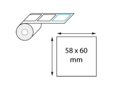 Étiquettes poids/prix thermique direct 58 mm x 60 mm en rouleaux