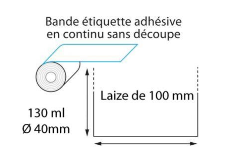 Linerless thermique 100 mm x 130 ml - ∅40mm