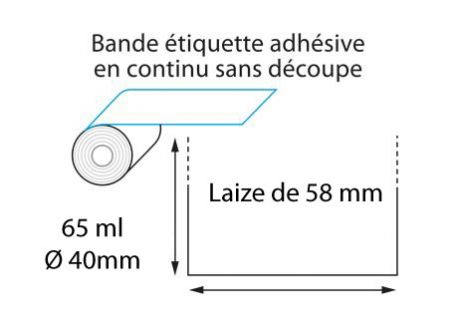 Linerless thermique 58 mm x 65 ml - ∅40mm