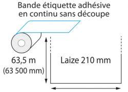 Etiquettes laize 210 x 63 500 mm jet d'encre et laser en rouleau